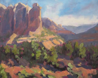 Gazing at Coffee Pot Rock (plein air painting, Sedona Arizona, Arizona landscape, small works)