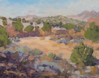 Finding Peace Away in the Arroyo (plein air painting, New Mexico art, Santa Fe art, Galisteo Basin)