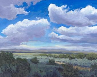 Taos Gorge Clouds, I  (New Mexico landscape, Taos art, landscape print, Southwestern art)
