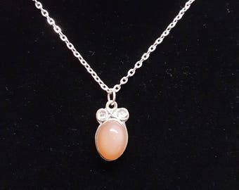 Peach Moonstone in Sterling Silver Necklace