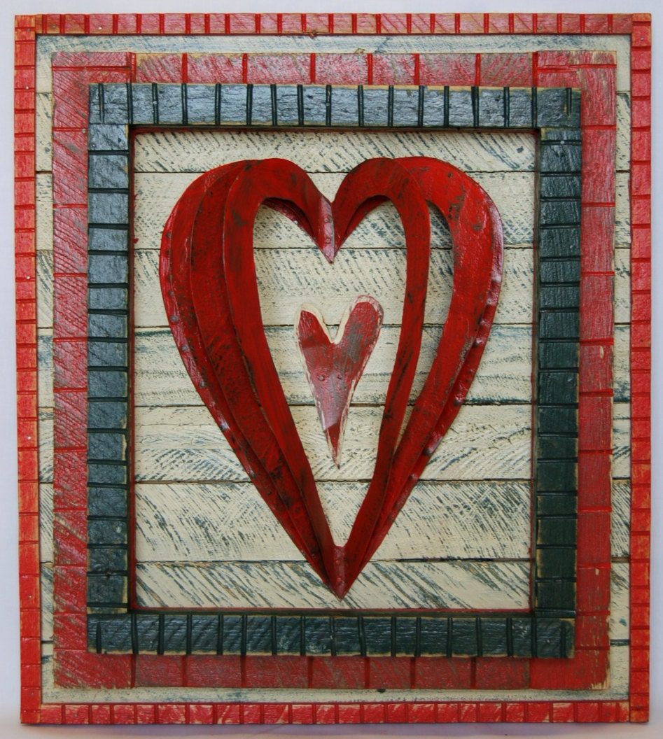 Recycled Folk Art Heart Wood & Metal Wall Art | Etsy