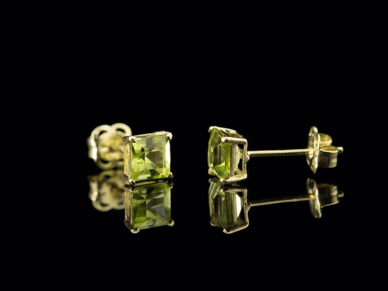 Free shipping 9ct Gold ear studs PERIDOT SQUARES