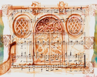 Venice Ocher Door and gondola Drawing wash on paper music