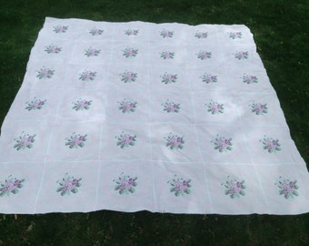 Summer Violets Embroidered Quilt top, unfinished quilt top, Queen size