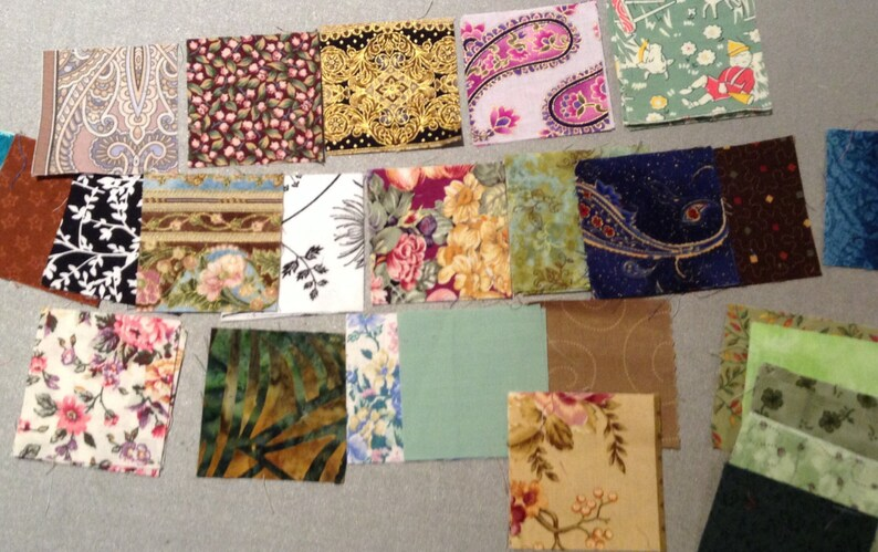 Cotton fabric 2.5 squares Pre-cut Quilting Squares Fabric scraps and patches in batches! QTY 55