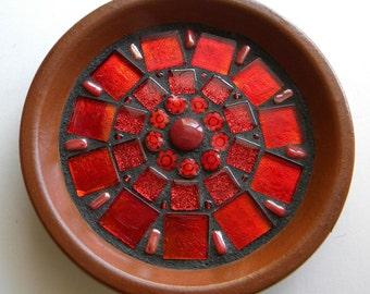 Red Mosaic Mandala Ring Dish, Gift for Mother's Day, Engagement Ring Dish, National Best Friend Day, Gift for Bride, Red Mosaic Trinket Dish
