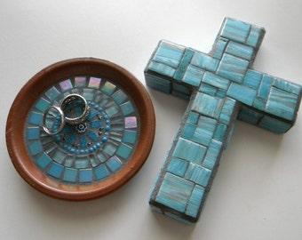 Blue Copper Mosaic Cross, Contemporary Cross, Mother's Day Cross, Baptism, Baby Boy Shower, First Communion, Engagement Gift, Wedding Cross