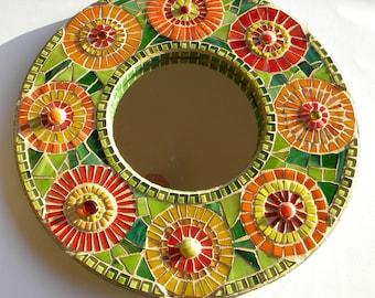 Mosaic Mirror, Large Round Mirror, Bridal Shower Gift, Housewarming Gift, Sunroom Art, Anniversary Gift, Garden Art, Mirror for Nursery