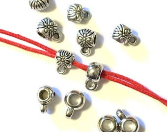 Charm holder bead. Tiny bails Silver Tone Smooth Bails or flower designed for hanging charms to bracelets or necklace