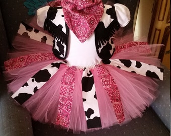 Wedding Birthday Blue Pink Or Red Bandanna White And Black Cow Girl Cowgirl Country Western Tutu Skirt Shirt Vest Outfit