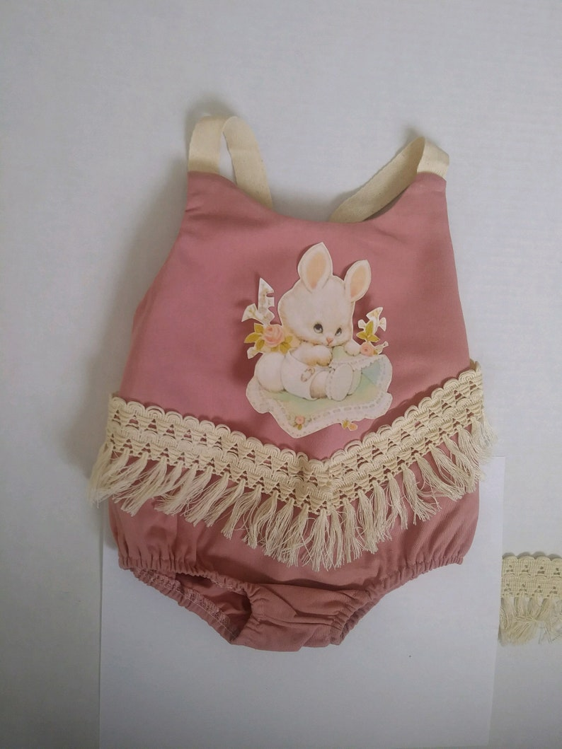 Mauve Pink Easter pic and fringe Boho Shabby Girl Baby Infant Birthday Outfit Romper