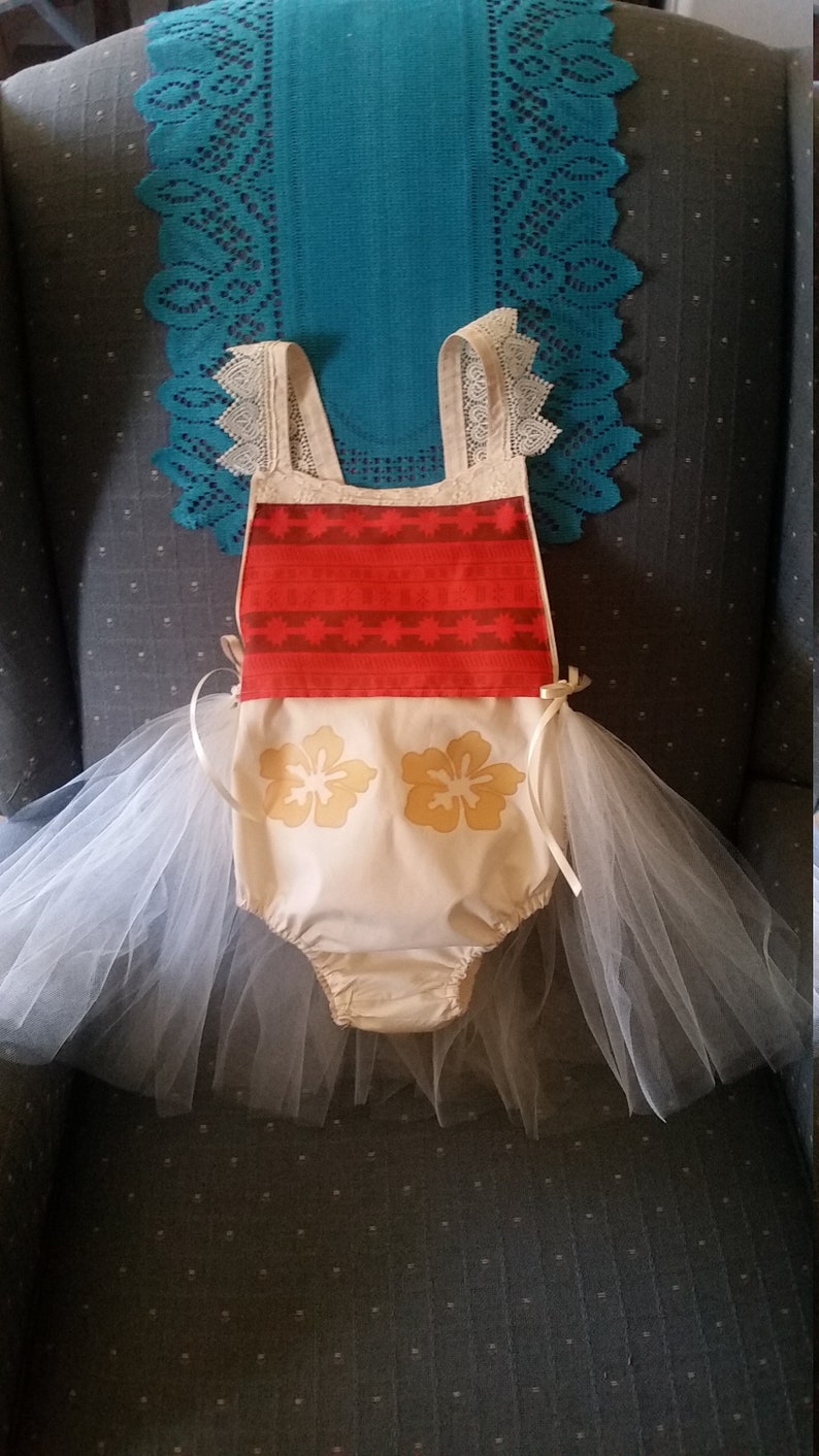 Moana Baby Infant Girl Romper with 12 tulle Tutu Sun suit Outfit Birthday