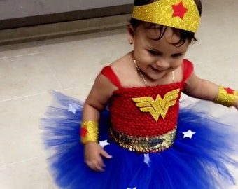 Birthday Wonder Girl Woman Tutu Dress Costume with Cuffs and Headband  Red and Royal Blue