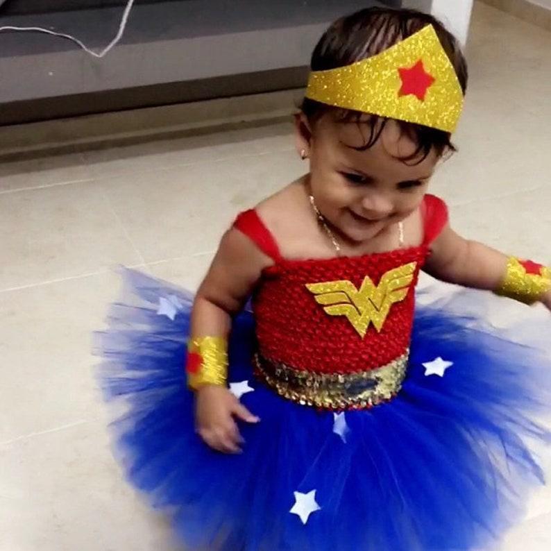 Halloween Birthday Wonder Girl Woman Tutu Dress Costume with image 0