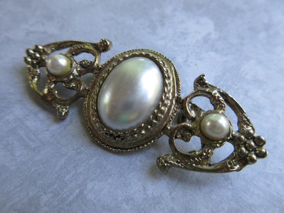 Vintage Brooch - Vintage Pearl Brooch - Antique G… - image 4
