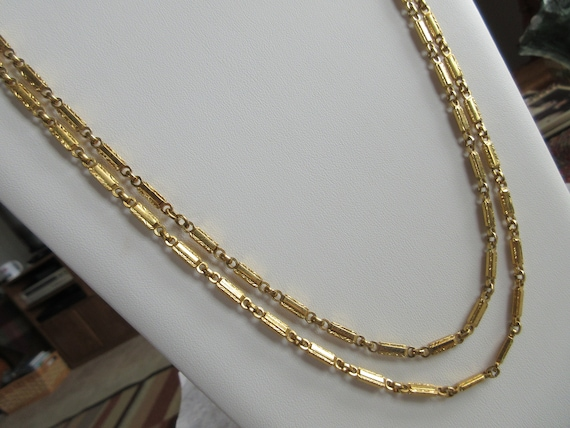 Statement Double Chain Goldtone Necklace - Elegant
