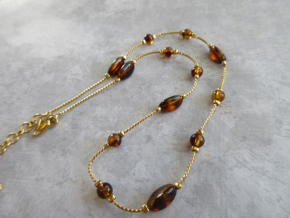 Monet Beaded Chain Goldtone Necklace - Elegant Cha