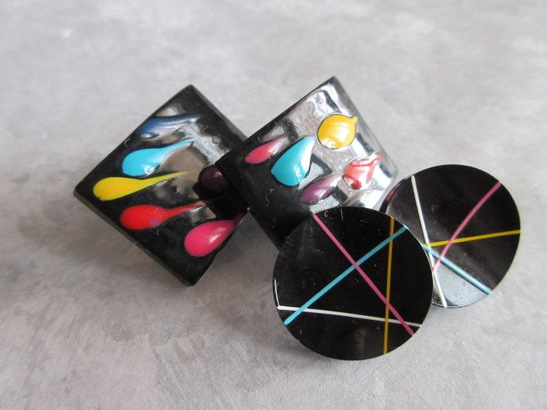 Pairs Vintage Painted Black Stud Earrings 2 pairs Black Post Earrings Collectible Jewelry-1970s earrings