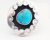 Vintage Navajo Turquoise Shadow Box Sterling Ring Native American ring Native American jewelry turquoise sterling ring