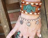 Thunderbird Hand Tooled Leather Cuff Bracelet