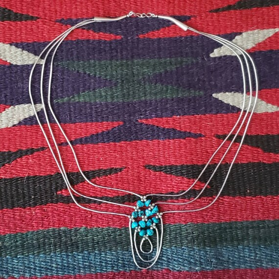 Native American Turquoise Sterling Necklace•Native