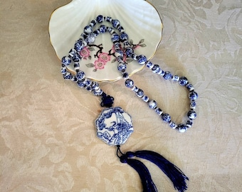 Chinese porcelain bead tassel necklace antique silk blue white 25 in