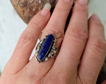 Afgan Lapis Lazuli Sterling Arts & Crafts Repousse Ring sz 6