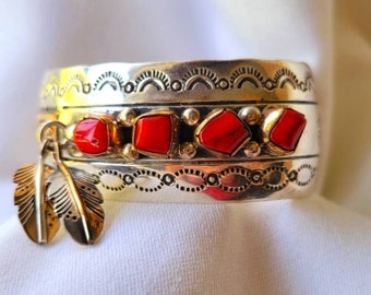 ALBERT PLATERO Signed Navajo Coral Feathers Sterling Cuff Bracelet