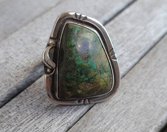 Vintage Southwestern Chrysocolla Taxco Feather Sterling Ring sz 9