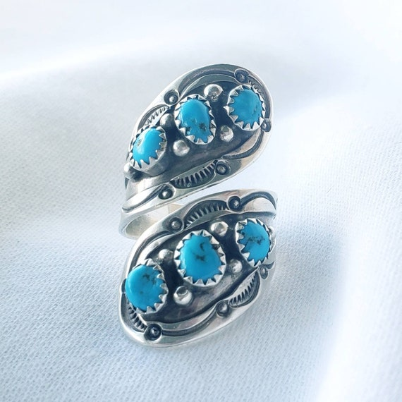 Navajo Turquoise Sterling  Bypass Spoon Ring