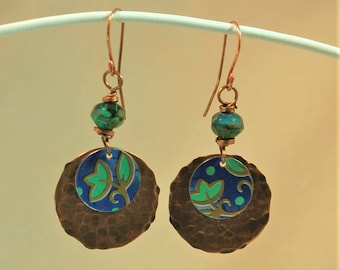 Blue and Green Floral Upcycled Tin Copper Earrings