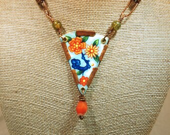 Upcycled Tin Floral Necklace