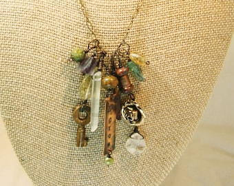 """OOAK Assemblage Charm Necklace """"Grow"""""""