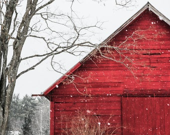 The Snowy Red Barn - Christmas ,red barn, winter, snow, home decor, photography, landscape, rustic wall art, old barn, fine art print