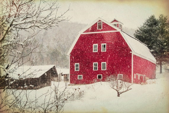 The Red Barn Christmas Scenery Antique Barn Winter Snow Etsy