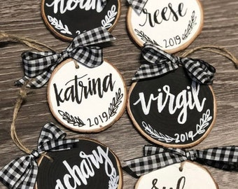 Hand painted wood slice ornaments.