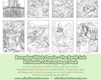 Coloring Book Pages - Everyday Witch Oracle Earth Suit - Printable Pack of 11 Pages Ready to Color