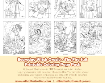 Coloring Book Pages - Everyday Witch Oracle Fire Suit - Printable Pack of 11 Pages Ready to Color