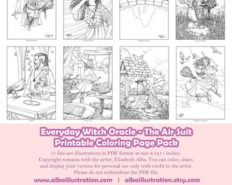 Coloring Book Pages - Everyday Witch Oracle Air Suit - Printable Pack of 11 Pages Ready to Color