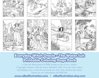 Coloring Book Pages - Everyday Witch Oracle Water Suit - Printable Pack of 11 Pages Ready to Color