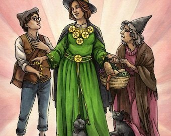 Original Painting - Six of Pentacles - Everyday Witch Tarot