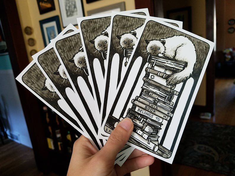 Ex Libris Pack of 10 Bookplate Stickers Cat on Books Stickers