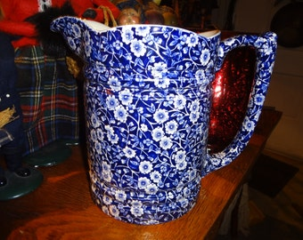 LARGE BLUE CALICO English pitcher.....highly collectible