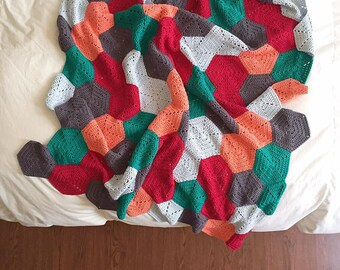 Crochet Cotton Hexagon Afghan / Throw Blanket / Multicolored