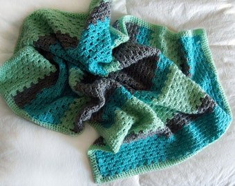 Handmade Baby Blanket // Teal, Gray and Light Green