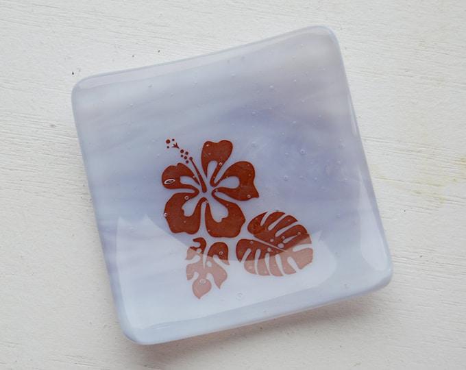 Lavender Hibiscus Mini Fused Glass Dish