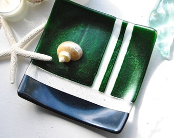 Green/Blue Sparkly Fused Glass Dish/Plate