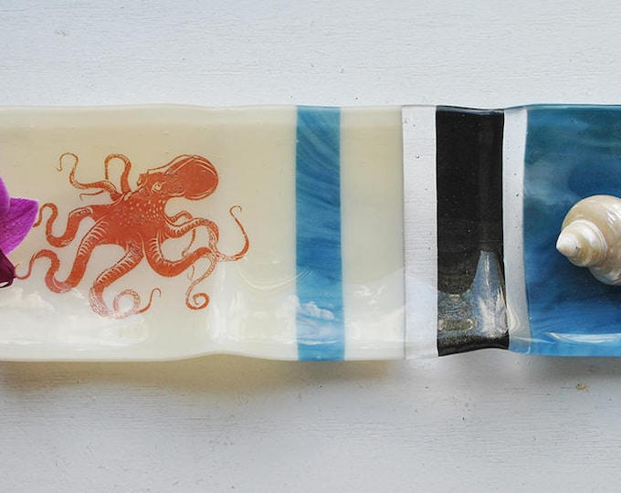 Octopus 3-part Fused Glass Dish