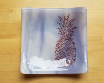 Purple   Pineapple Fused Glass Dish/Plate