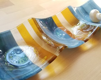Blue and Yellow 3-part Fused Glass Dish